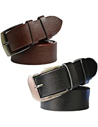 Sunshopping men's Synthetic leather black and brown needle pin point buckle belts combo (pack of two)