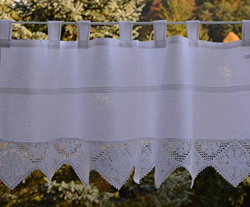 Scheibengardine Häkelkante Bistrogardine mit gehäkelter Spitze Panneaux Landhaus Look Nostalgie Shabby ca. 60 x 150 cm Weiß -