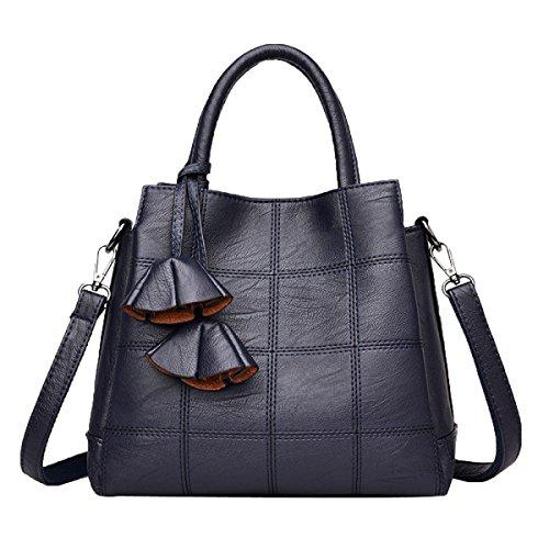 Schultertasche Mode Spiraea Textur PU Tote Bag Leder Umhängetasche Für Frauen,Blue-M
