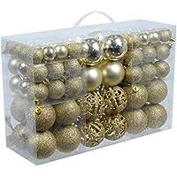 Design exclusif avec 100 boules de noël de couleur or