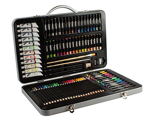 Mont Marte Premium Malset - 90-teilig - Hochwertiger Malkoffer aus Aluminium mit essentiellen Malmedien - Acryl-, Ölpastellfarben, Stifte, Pinsel und vieles mehr