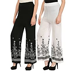 Haniya Free Size Combo of Printed Viscose Palazzos for Women (Black & White)