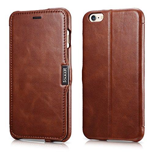 FUTLEX Premium-Folio-Hülle aus Leder, kompatibel mit iPhone 6 Plus / 6S Plus - Klapphülle aus echtem Vintage-Style-Leder mit Magnetverschluss - Vollständiger Schutz - Braun