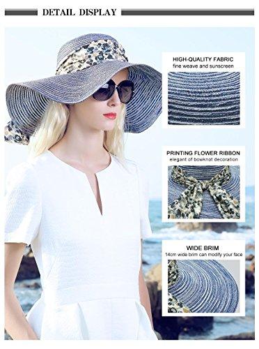 Mesdames chapeau de paille l'été avec Bowknot chapeau à large bord pour protection contre le soleil plage vacances femme chapeau souple pliable Natural