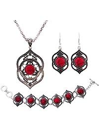 8a6340ea57f Women Jewelry Sets - TOOGOO(R)Tibetan Silver Women Bracelet Necklace Dangle  Earrings Turquoise