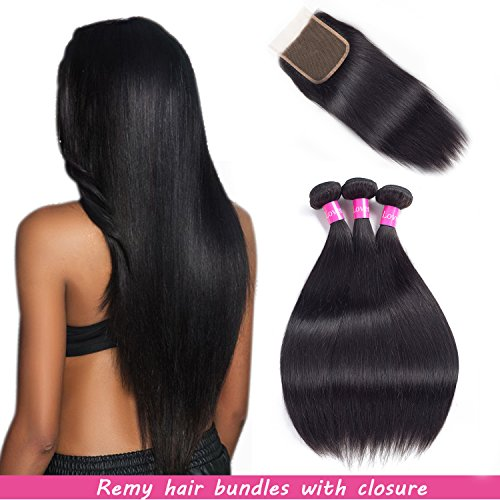 Chiusura malese 3ciocche di capelli lisci capelli remy con chiusura extension con capelli naturali nero doppia trama di lovenea
