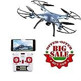 Esun Europe Drohne für Anfänger,Drohne mit Kamera HD für Live Videos,SYMA X5HW RC Quadcopter 2.4 G 6-Achsen Kopflos-Modus Höhe-Halten 3D-Flips und Rollen Spielzeug Sonder-Edition(Blau und Weiß)