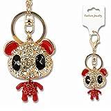 Panda modello di cristallo STRASS portachiavi in metallo portachiavi portachiavi Keyfob Fashion ciondolo borsetta/borsa a mano decorazione