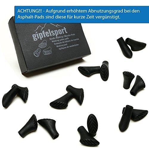 gipfelsport Nordic Walking Gummipuffer, Asphalt, 16 Stück, 8 Paare