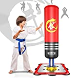 Dripex Sac de Frappe sur Pied Enfant Autoportant Lourd Stable Punchingball Kickboxing Cadeau pour Enfant de 70cm a 140cm