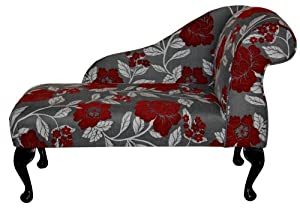 """Gorgeous Red, White and Grey Floral Mini Chaise Longue 41"""" by Beaumont Furniture"""