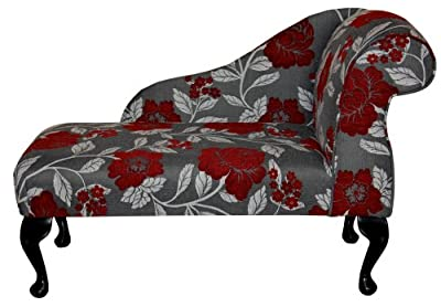 "Gorgeous Red, White and Grey Floral Mini Chaise Longue 41"" by Beaumont Furniture"