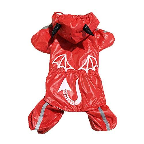 Devil Kostüm Dog Xl - XGPT Katze Hund Regen Mantel Hundebekleidung Red Devil Kostüm Für Haustiere Männer Frauen Wasserdicht Halloween,XL
