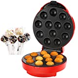 VonShef Cake Pop Maker - 12 Hole - with Decoration Accessories including Icing Injector, Stand, 50 Paper Sticks, 50 Ribbons, 50 Plastic Bags & Twist Ties