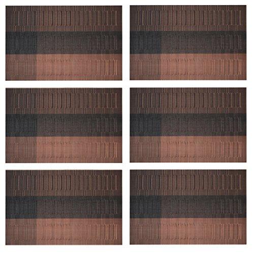 Lot 6 Set de Table Plastique Famibay Rectangulaires Lavables PVC Sets de Table Bambou Antiderapant