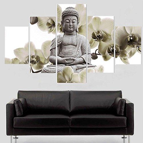 TOPmountain 5 Unids/Lote Abstracto Lienzo de Buda Mural Cuadro Pintado Pintura al óleo Decoración del hogar