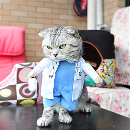Feidaeu Lustige Cat Dog Clothes Nurse Suit Kostüm für Cat Cool Weihnachten Halloween Kostüm Haustier-Mantel für Katze Hund (Kostüm Frau Arzt)