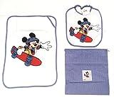 SET ASILO 3 PEZZI BAVAGLIA SALVIETTA SACCHETTO DISNEY Topolino Mickey Mouse Bimbo