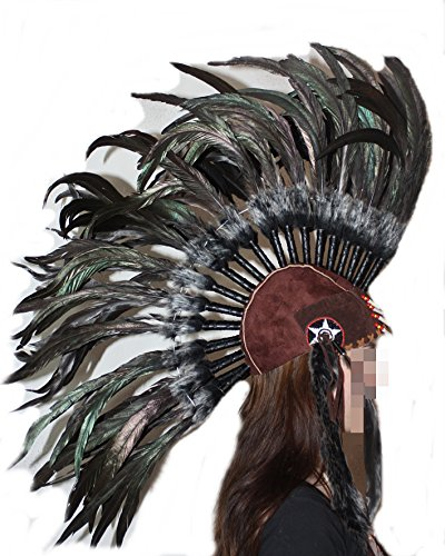 Hejoka-Shop NEUHEIT Indianer Kopfschmuck Federschmuck IROKESEN Haube Lange Schwarze Federn Federhaube Unikat handgefertigt Fasching Fotoshooting -