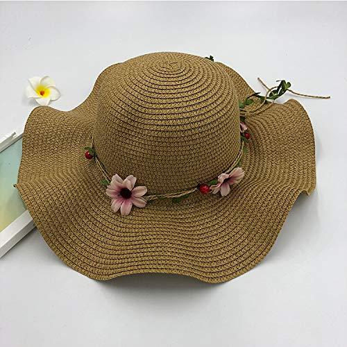 zlhcich Señora Sombrero de Paja al Aire Libre Playa Playa Sombrero Visera Sombrero Flor