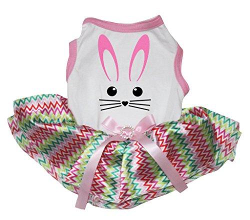 ly Easter Cute Bunny White Cotton Shirt Chevron Tutu (X-Small) ()