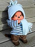 Puppenkleidung handmade für MONCHICHI Gr. 20 cm MONCHHICHI Bekleidung Kapuzenshirt Hoodie Winterset 5-teilig Kleidung Puppenkleidung schoko blau Ringel