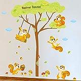 Cartoon Eichhörnchen Diy Entfernbare Wandaufkleber Nette Warme Kinderzimmer Kindergarten Spielplatz Tapete Übergroße Wandbild