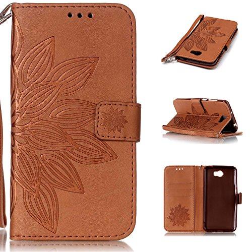 Preisvergleich Produktbild Huawei Y5 II Hülle, Huawei Y5 2 Case, Cozy hut Huawei Y5 II / Y5 2 (5,0 Zoll) Drucken(Die Hälfte Blume)PU Ledercase Tasche Hüllen Schutzhülle Scratch Magnetverschluss Telefon-Kasten Handyhülle Standfunktion Handycover Solide Brown - Brown Lotus