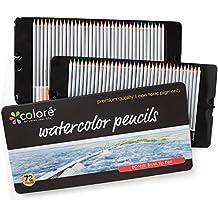 Lápices para Acuarela Colore – 72 Lápices de Colores Solubles en Agua para Estudiantes de Arte y Profesionales – Colores Variados para Colorear Libros para Niños y Adultos – Conjunto de 72 Colores
