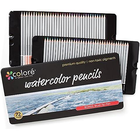 Colore Matite Acquerellabili–72matite colorate solubile in acqua per studenti e professionisti, colori assortiti per schizzi libro da colorare per adulti e bambini, punta a pennello penna–Set di 72Colori, 72 Colors
