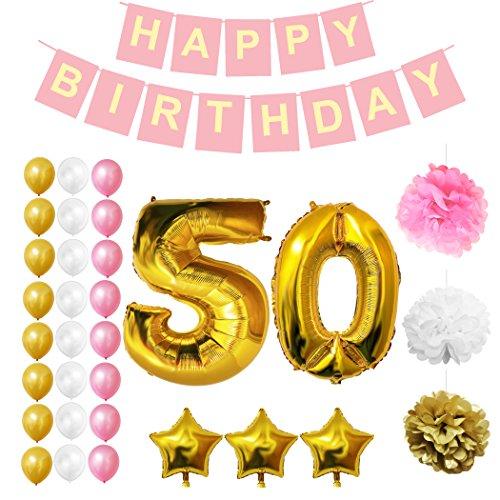 Party-banner (Geburtstag Luftballons Happy Birthday Banner Party Zubehör Set & Dekorationen von Belle Vous - Große Folienballons. Geburtstag - Gold, Weiß & Pink Latex-Ballon-Dekoration - Dekor für alle Kleinkinder geeignet (Age 50))