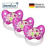 Dentistar® Schnuller 3er Set- Nuckel Silikon in Größe 2, 6-14 Monate - zahnfreundlich & kiefergerecht - Beruhigungssauger für Babys - Bubbles Pink