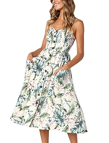 Yieune Sommerkleid Damen Strandkleid Ärmellos Blumenmuster Trägerkleid Knielang Abendkleider Sexy Partykleid Cocktail Kleid (Marine-blau Und Kleid Weiß Frauen)