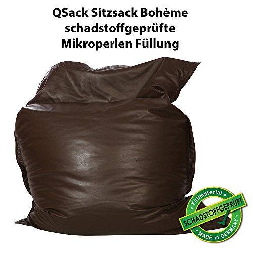 QSack Bohème Sitzsack aus Leder, mit Toxproof Mikroperlen, 140x180 cm (Braun)