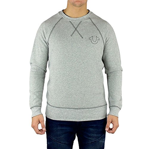 True Religion-Felpa da uomo con collo allungato, MC301RK5 grigio medium