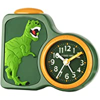 Jacques Farel Kinderwecker boys dinosaur green without ticking, with light and snooze ACB 06DINO