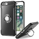 MaiJin Funda para Apple iPhone 7 Plus/iPhone 8 Plus (5,5 Pulgadas) Multifunción Anillo sostenedor movil de 360 Grados con Función de Soporte Rugged Armor Cover Case (Negro)