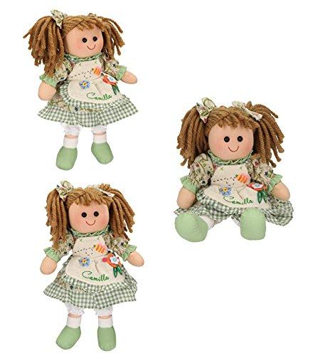 Betz 3 tlg. Kinder Stoffpuppen Set CAMILLA Größe ca.30 cm Farbe grün (Camilla Stoff Set)