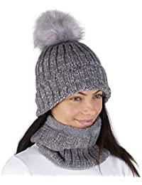 b4536b83d54 Hat and Circle Scarf Set for Women Winter Warm Knitted Beanie Pom Pom Scarfs  for Ladies