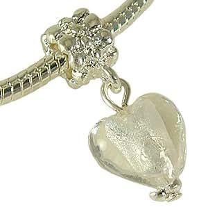 White Ice Heart Dangle Charm Fits Pandora Bracelets