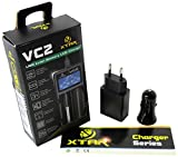 Xtar VC2EUF Intelligentes 2 Schacht Ladegerät mit USB-Eingang und Farbdisplay Full Set (Netzteil 5 V, 12V-24V Kfz-Adapter) schwarz