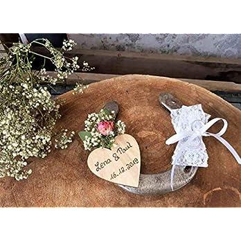 Hochzeit Ringkissen Ringhalter Hufeisen mit weißer Spitze und Herz für Namen