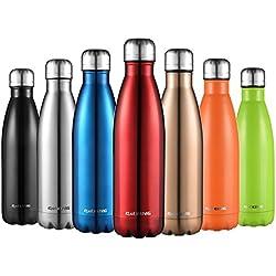 Botella De Agua-CMXING 500ML/750ML de doble pared con aislamiento de botella de agua de acero inoxidable (750ML, rojo)