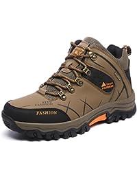 Onenice Chaussures de randonnée homme femme Cuir respirant Marche extérieur Trail escalade Sneaker pour le camping Athletic Running Chaussures de sport de voyage, Homme, G-28 Brown