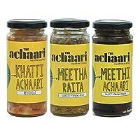 The Achaari Homemade Mango Pickle (Pack of 3) (Khatti Achaari Red Chilli, Meetha Raita & Meethi Achaari)