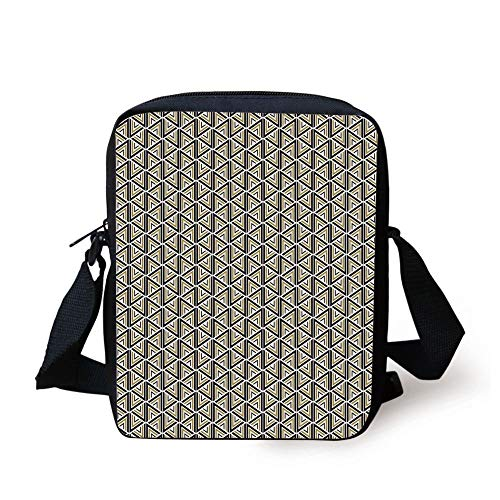 CBBBB Geometric,Triangles and Hexagon Shapes Stylish Modern Design Abstract Mosaic Art Decorative,Khaki Black White Print Kids Crossbody Messenger Bag Purse
