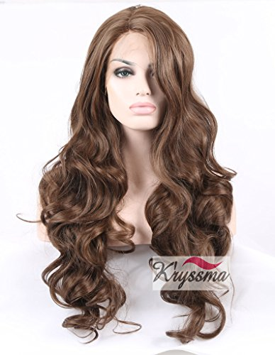 K'ryssma Realistic Wigs for Women Long Brown Body Wave Synthetic Hair Lace Front Wigs for Ladies Half Hand Tied Heat Friendly 18-24 inches