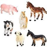 Pixnor Figure di animali 6pcs bambini giocattolo fattoria giocattoli modello Set maiale cane mucca pecora cavallo asino