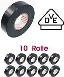 10 Rollen PVC-Isolierband - schwarz - 15mm x 10m ---VDE---