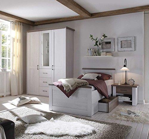 lifestyle4living Schlafzimmer, Schlafzimmermöbel, Set, Komplettset, Schlafzimmereinrichtung, Seniorenschlafzimmer, Pinie Weiß, Trüffel, Bett, 100 x 200 cm, Schrank